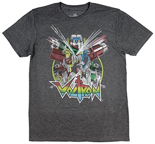 Voltron Men's Distressed Vintage Graphic Design T-Shirt (X-Large)