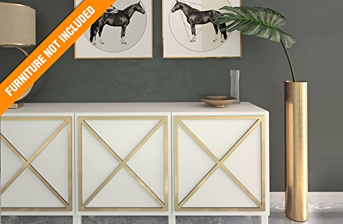HomeArtDecor | Almada Fretwork Panel | Suitable for IKEA Besta | High Quality Overlay | Color: PVC White/Paintable, Golden Mirror, Silver Mirror, Brushed Silver | Furniture Decoration | Home Décor