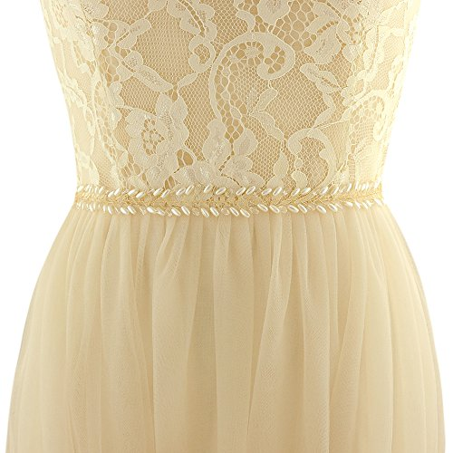 ULAPAN Women's Crystals Diamonds Wedding Belts Sash Pearls Bridal Belt Sashes for Wedding Dress,180212SH46G (Gray) by ULAPAN