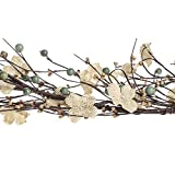 44 Inch Long Hand Wrapped Natural Burlap Flower and Mixed Berry Garland for Decorating and Designing