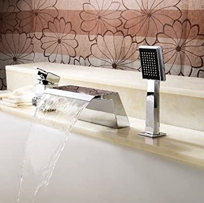 Senlesen Deck Mount Ceramic Valve Contemporary Solid Brass Bathroom Bath Tub Faucet with Pull Out Handheld Showerhead Mixer Taps Chrome Finish Stainless Steel Shower System Lavatory Roman Tub Faucets