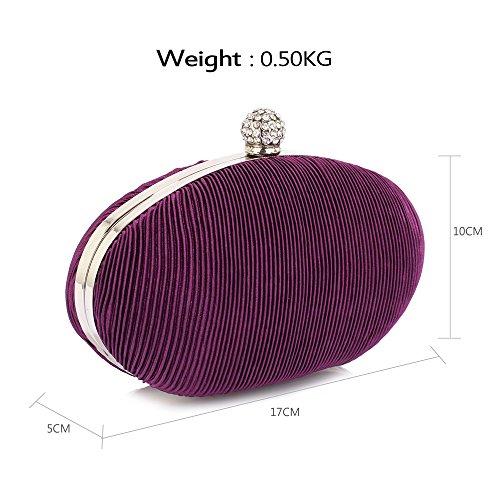 Ladies Box Purple Clutch Designer New Handbag Evening Hardcase Look Design Women 1 Pleated Bag Luxury 11HwTqxnC