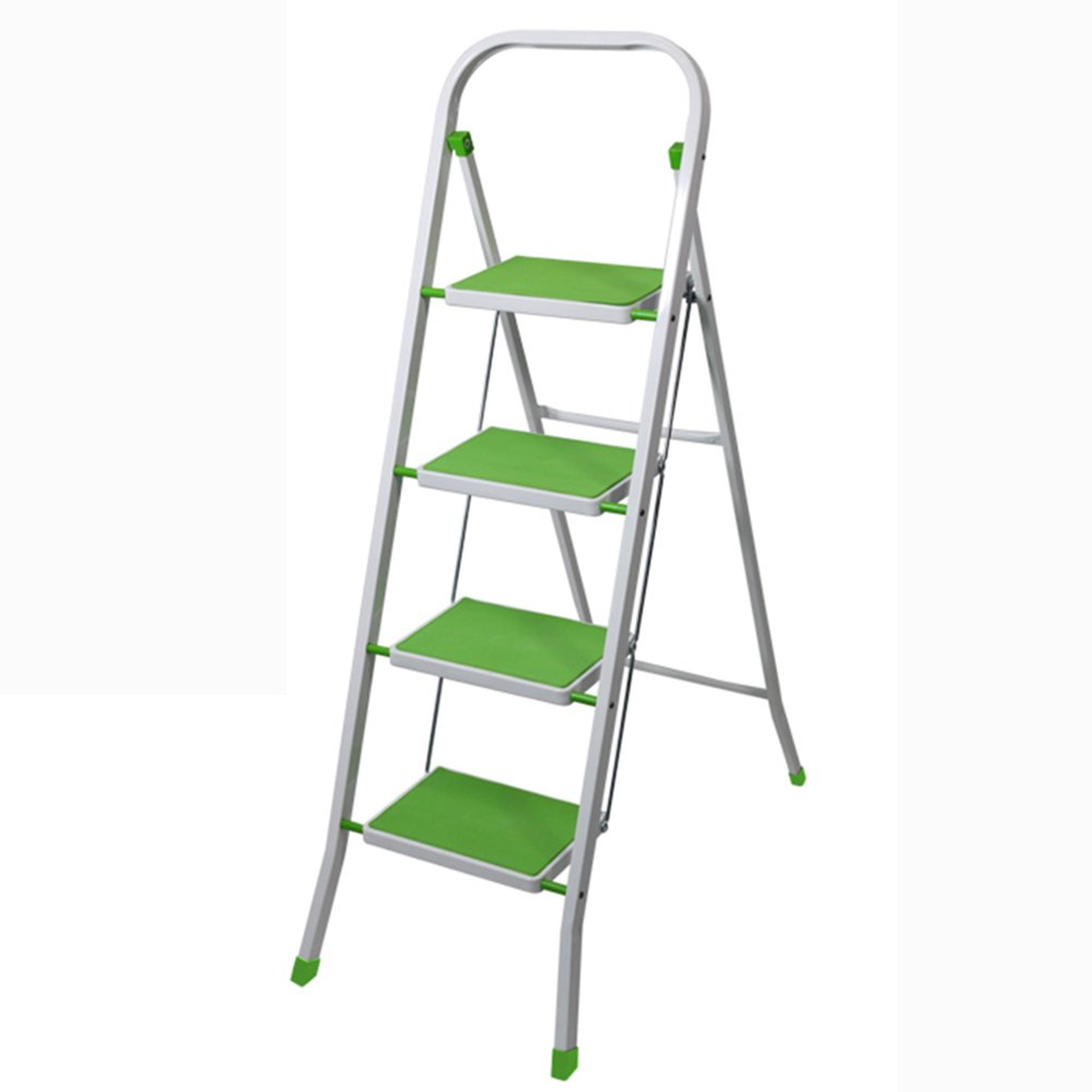 4ステップスツールノンスリップ4ステップラダースツール家庭用ペダルヘリンボーン折りたたみラダーデュアルユース屋内 (色 : 緑) B07DBX4FBC  緑
