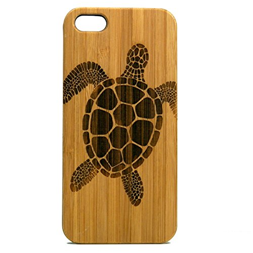 (Sea Turtle Case for iPhone SE, iPhone 5 or iPhone 5S | iMakeTheCase Eco-Friendly Bamboo Wood Cover | Tribal Tattoo Ocean Sea Hawaiian)
