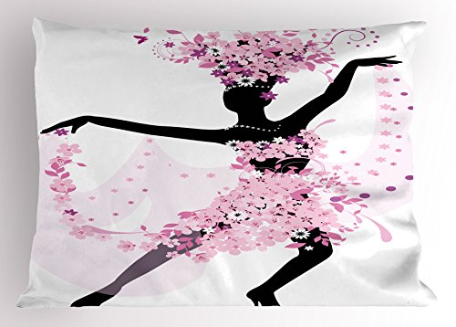 Ambesonne Latin Pillow Sham, Silhouette of a Woman Dancing Samba Salsa Latin Dances Spain and Mexico Culture Print, Decorative Standard King Size Printed Pillowcase, 36 X 20 Inches, Pink Black by Ambesonne