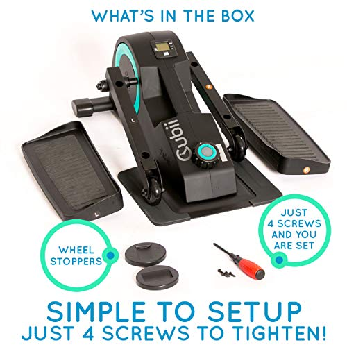 Cubii Jr: Desk Elliptical with Built in Display Monitor, Easy Assembly, Quiet & Compact, Adjustable Resistance (Turquoise) by Cubii (Image #8)