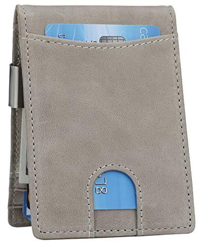 Money Clip Wallet - Mens Slim Front Pocket Leather Wallet RFID Blocking Minimalist Mini Wallet (Style 10 - Slate Gray)