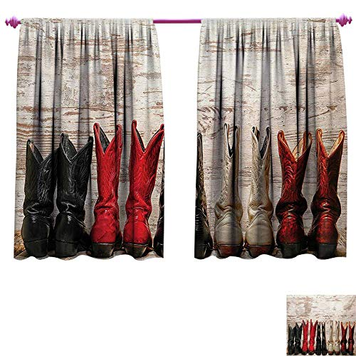 cobeDecor Western Customized Curtains American Legend Cowgirl Leather Boots Rustic Wild West Theme Cultural Print Blackout Window Curtain W55 x L72 Beige Red Black