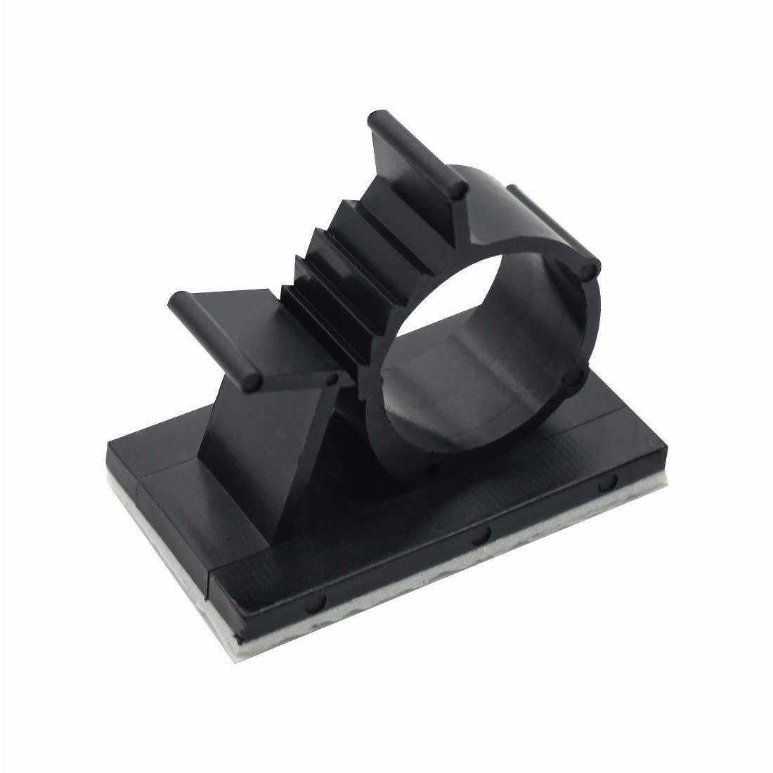 25個ブラック粘着Backedナイロンワイヤー調整可能なケーブルクリップクランプ M GBIS061 B07G7T753H ブラック M