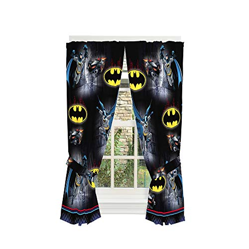 (Warner Bros Batman Kids Room Window Curtain Panels with Tie Backs, 82