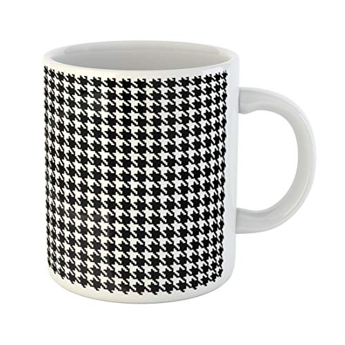 Semtomn Funny Coffee Mug Houndstooth Pixel Hounds Tooth Pattern in Black and White 11 Oz Ceramic Coffee Mugs Tea Cup Best Gift Or Souvenir]()