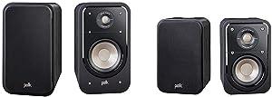 Polk Audio S20 Signature Series Bookshelf Speakers, Black & Audio Signature Series S10 Bookshelf Speakers for Home Theater, Surround Sound and Premium Music | Detachable Magnetic Grille (Pair),Black