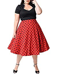 BY&M Women's Plus Size 1950'S Vintage V Neck Polka Dot Knee Length Dress