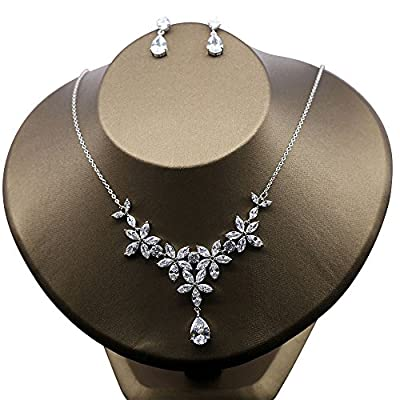 Cheap Kanrome Marquise Cubic Zirconia Flower Necklace Choker with Earrings