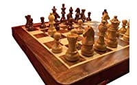 ChessCentral Magnetic Travel Wooden Chess Set - Chess Board Folds for Chess Piece Storage