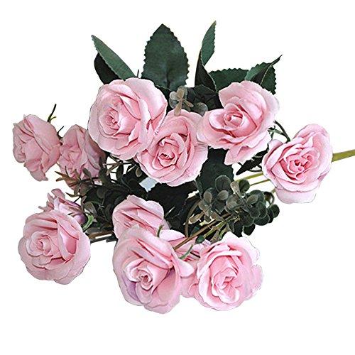 Artificial False Rose Silk Flowers 12 Flower Head Floral Wedding Garden Decor - 2