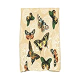 E by design KTAN492YE3IV2 Antique Butterflies and Flowers Animal Print Kitchen Towel, 16'' x 25'', Gold