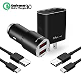 Quick Charge 3.0 Charger Kit for Samsung Galaxy S9 / Note 8 / S8, Jelly Comb Dual USB Car Charger + Wall Charger + 2 Pack USB Type C Cables for Galaxy S8 Plus, S9 Plus and More (Black)