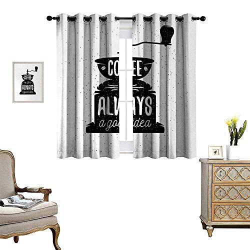 Anyangeight Quote Blackout Window Curtain Coffee Maker Silhouette with Coffee is Always a Good Idea Grungy Typography Customized Curtains W63 x L45 Black and White