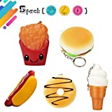key chain ice cream - Wakeu 5Pcs Squishies Pack Hot Dog Hamburger French Fries Donut Ice Cream Keychains Food Squishy Slow Rising Toy