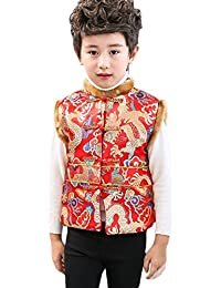 Boys Chinese Tang Suit Vest Winter Cotton-Padded for Kids