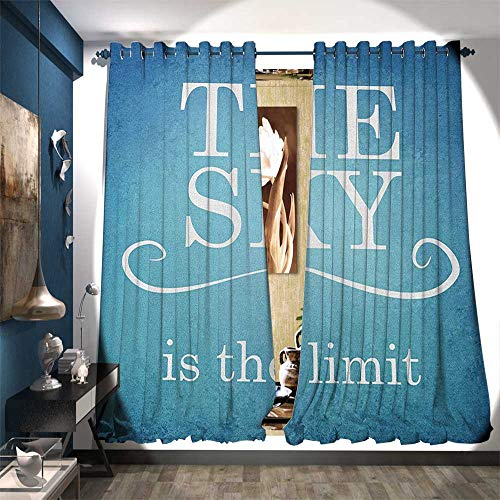 Patterned Drape for Glass Door The Sky is The Limit Typography Message Motivation Quote Simple Design Illustration Drapes for Living Room W120 x L108 Blue White