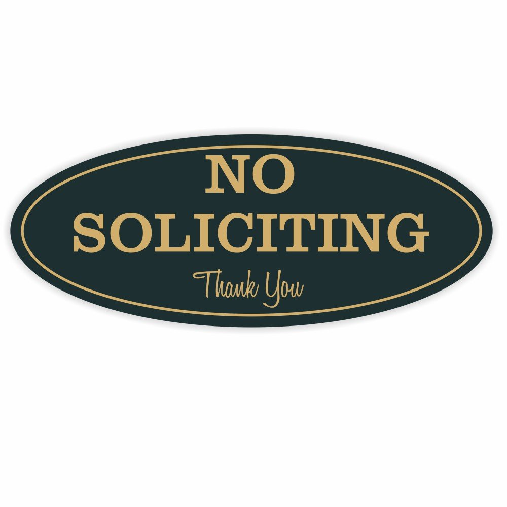 Oval No Soliciting Sign (Black / Gold) Small