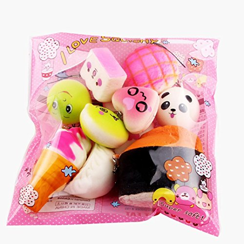 CieKen 10pcs Slow Rising Kawaii Medium Mini Soft Squishy Bread Toys Key Charm Stress Relief Squeeze (Random)