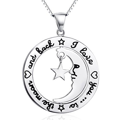 YFN Sterling Silver I Love You to The Moon and Back Infinity Heart Pendant Necklace 18