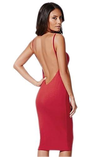 Moxeay Sexy Spaghetti Backless Sling Strap Bodycon Dress