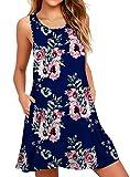 WEACZZY Bikini Swimsuit Swimwear Dresses for Women Beach Cover Up Cotton Crew Neck Floral Navy Small