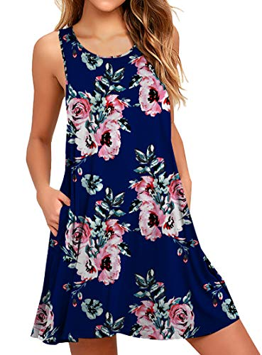 Relaxed T-shirt Love Crew (WEACZZY Women's Sleeveless Pockets Crew Neck Casual Dress Swing Casual T-Shirt Dresses Floral Navy 2X-Large)