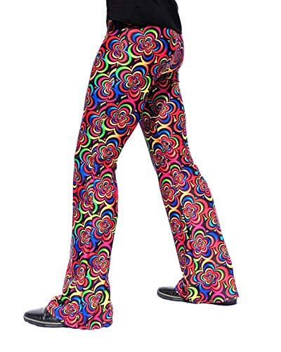 Revolver Fashion Psychedelic Men's Flare Pants: USA Made Flared Bell Bottoms (X-Large (38-40 Waist), Flower Child) -