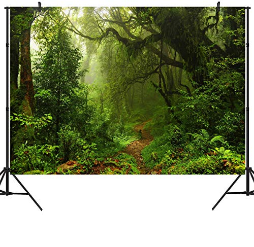 DULUDA 7X5ft Jungle Forest Vinyl Photography Backdrop Customized Photo Background Studio Prop TG04 ()