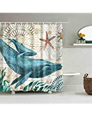 """Ocean Shower Curtains No Liner Mediterranean Style Marine Life, Bath Fantastic Decorations Waterproof Polyester Fabric Bathroom Shower Curtain with Hooks 72"""" x 72"""""""