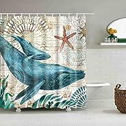 Ocean Shower Curtains No Liner Mediterranean Style Marine Life, Bath Fantastic Decorations Waterproof Polyeste