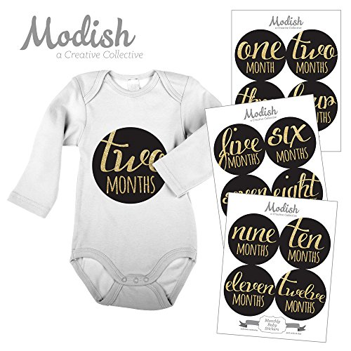 Modish Labels 12 Monthly Baby Stickers, Baby Girl, Black, Gold, Baby Shower Gift, Baby Book Keepsake, Photo Prop
