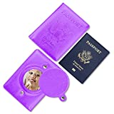 Passport Holder Cover, Transy Travel Accessories Leather RFID Blocking Wallet Case for Passport (Mirror-Purple)