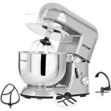 CHEFTRONIC Stand Mixer 650W/120V Tilt-Head Electric kitchen Mixer with 5.5QT Stainless Bowl, Wire whip, Dough hook, Flat beater, Flex edge beater splash guard