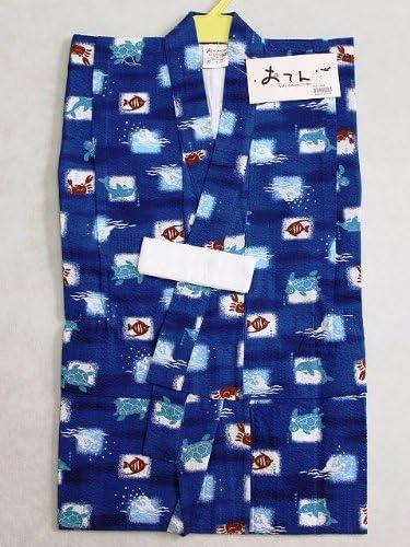 子供浴衣 仕立上り男の子のゆかた 子供ゆかた 90サイズ 紺色地のゆかた Y3563-06-90