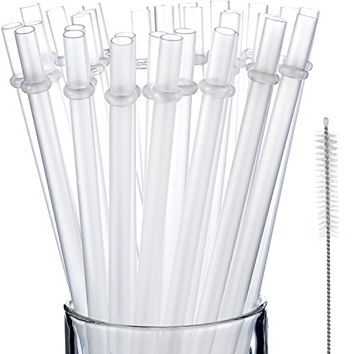 Jovitec  50 Pieces Reusable Drinking Straw Thick Plastic Straws with Cleaning Brush Straw Cleaner (11 Inch, Clear Color)