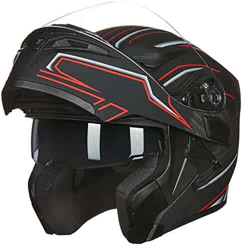 8ba1f480 ILM Motorcycle Dual Visor Flip up Modular Full Face Helmet DOT with 6  Colors (S