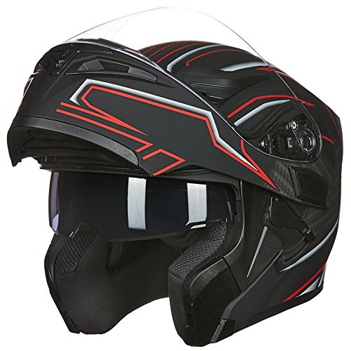 ILM Motorcycle Dual Visor Flip up Modular Full Face Helmet DOT with 6 Colors (M, BLACK RED)