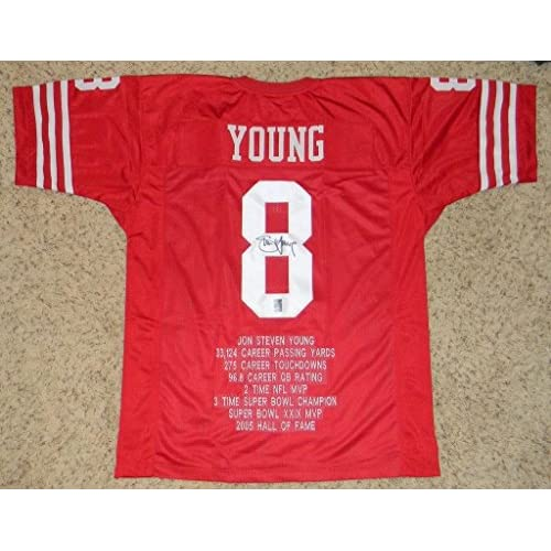 best service 66ac5 28255 Autographed Steve Young Jersey - #8 Throwback Stat Mm - GTSM ...