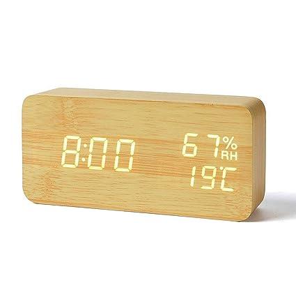 Teabelle Despertador de Madera cúbicos Comando de voz Relojes Despertador LED Cubo 3 Niveles Brillo 3