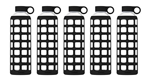 purifyou Premium Glass Water Bottle with Silicone Sleeve & Stainless Steel Lid Insert, 12/22 / 32 oz (5 Pack Jet Black, 32 ()