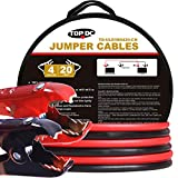 TOPDC 100% Copper Battery Jumper Cables 4 Gauge 20 Feet 300AMP Heavy Duty
