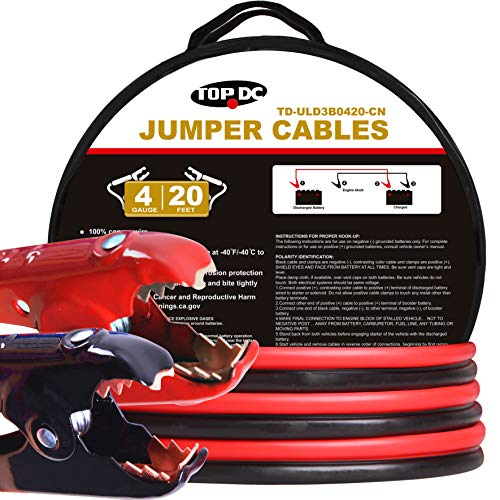 TOPDC 100% Copper Jumper Cables 4 Gauge 20 Feet 300AMP Heavy Duty Booster Cables with Carry Bag and Safety Gloves (4AWG x ()
