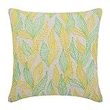 """Designer Green Pillow Shams, Multi Color Jute Leaves Pillow Shams, 24""""x24"""" Pillow Shams, Square Cotton Linen Shams, - Leaves Change"""