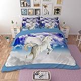 RuiHome 4-Piece Flying Horse Pattern Duvet Cover Set for Teen Girls Boys Kids Bedroom College Dorm Room, Polyester - Full Size